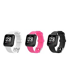 Unisex Fitbit Versa Assorted Silicone Watch Replacement Bands - Pack of 3