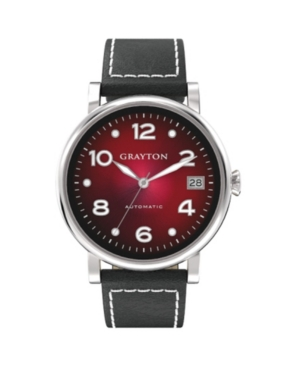 Women's Radiance Collection Black Flat Cut-Edge Leather Strap Watch 36mm