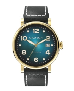 Men's Radiance Collection Black Flat-Cut Edge Leather Strap Watch 44mm