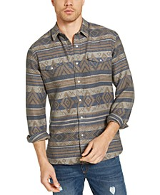 Men's Geometric Stripe Jacquard Shirt, Created for Macy's