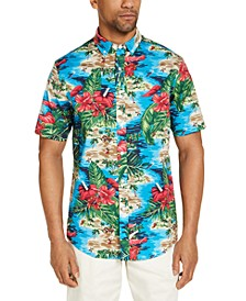 Men's Island Beach Tropical Print Short Sleeve Shirt, Created for Macy's