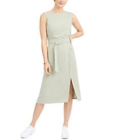 Petite Belted Sleeveless Linen-Blend Midi Dress