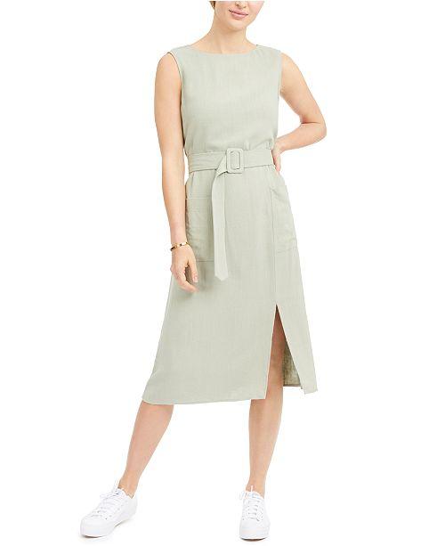 Monteau Petite Belted Sleeveless Linen-Blend Midi Dress