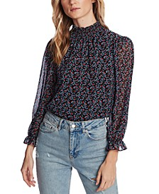 Printed Ruffle-Cuff Top