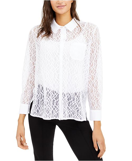 Alfani Lace Button-Down Top, Created for Macy's