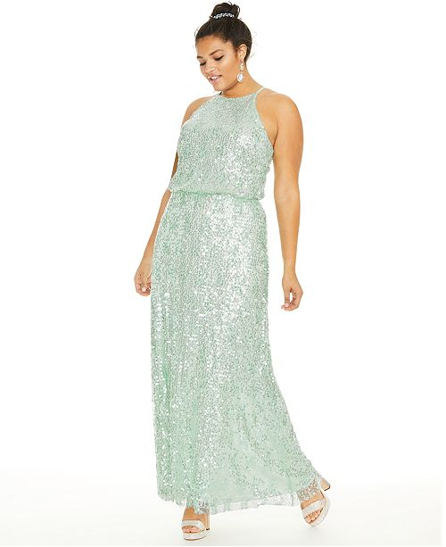 B Darlin Trendy Plus Size Sequined Blouson Gown