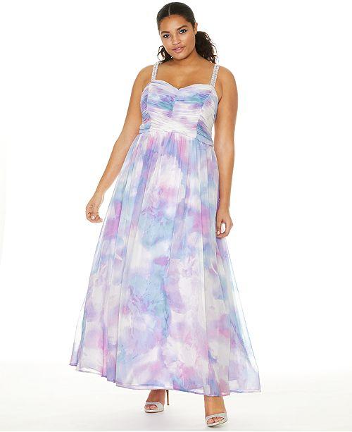 Trixxi Trendy Plus Size Printed Chiffon Unicorn Gown