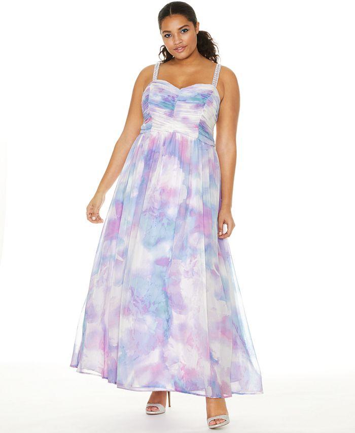 Trixxi - Trendy Plus Size Printed Chiffon Unicorn Gown