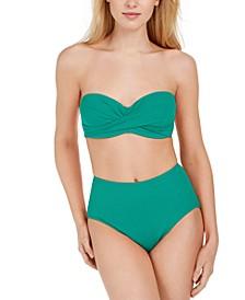 Halter Bandeau Bikini Top & High-Waist Bikini Bottoms