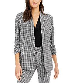 Alfani Ruched-Sleeve Gingham Blazer, Created for Macy's
