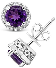 Amethyst (1-3/8 ct. t.w.) and Diamond Accent Stud Earrings in Sterling Silver (Also Available in Other Birthstones)