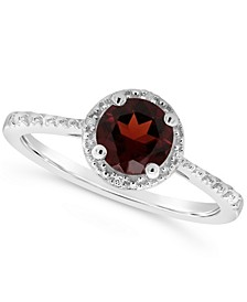Garnet (1 ct. t.w.) and Diamond Accent Ring in Sterling Silver (Also Available in Other Gemstones)