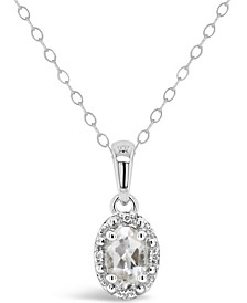 Gemstone and Diamond Accent Pendant Necklace in Sterling Silver