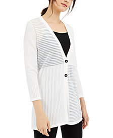 Alfani Shadow-Stripe Ribbed Cardigan, Created for Macy's