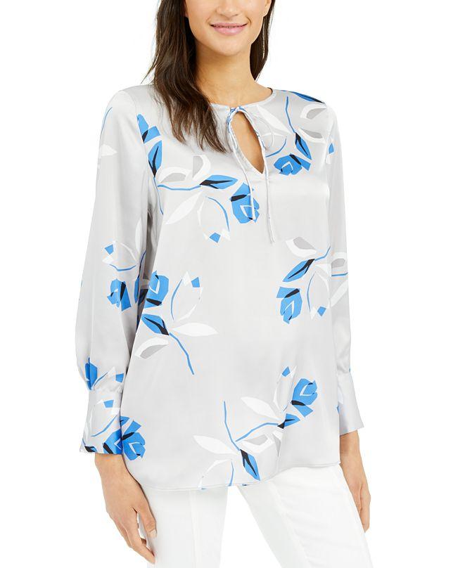 Alfani Printed Tie-Neck Tunic, Created for Macy's