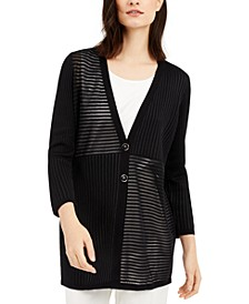 Petite Mixed-Knit Cardigan, Created for Macy's