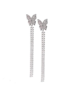 Bx Glow Crystal Linear Earrings with Signature Butterfly