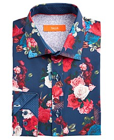 Men's Slim-Fit No-Iron Performance Stretch Navy Blue Rose Print Dress Shirt