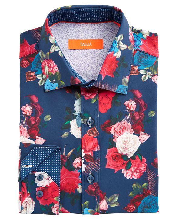 Tallia Men's Slim-Fit No-Iron Performance Stretch Navy Blue Rose Print Dress Shirt