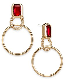 Gold-Tone Crystal & Hoop Drop Earrings, Created for Macy's
