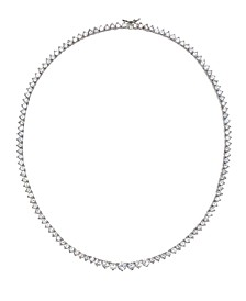 "Cubic Zirconia Graduated Tennis 16"" Collar Necklace in Sterling Silver"