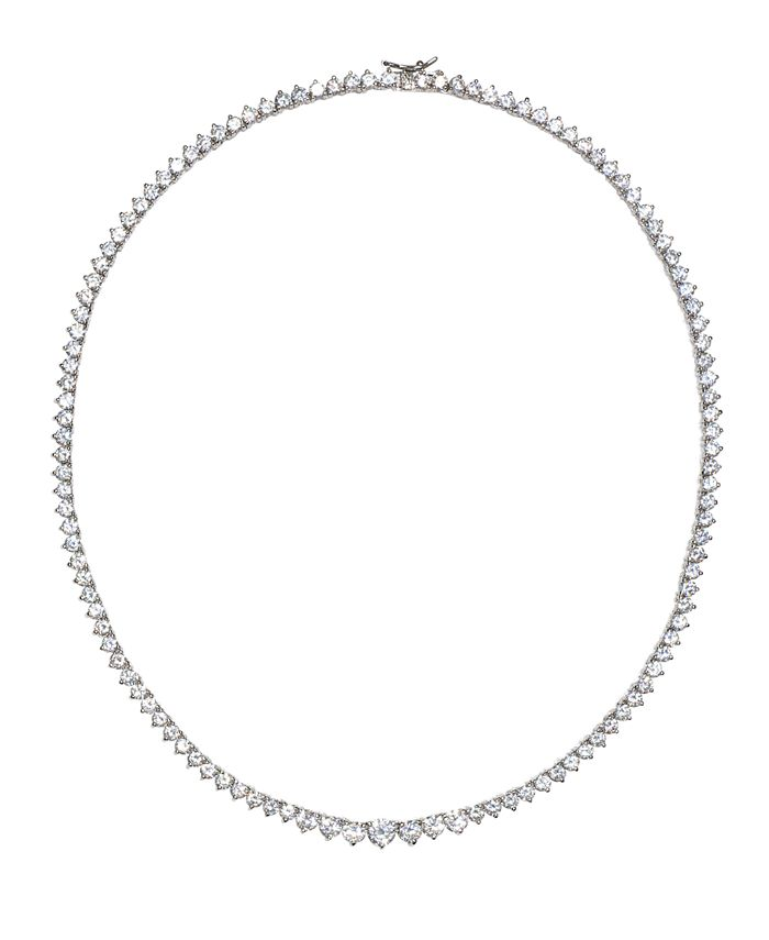 """Macy's - Cubic Zirconia Graduated Tennis 16"""" Collar Necklace in Sterling Silver"""