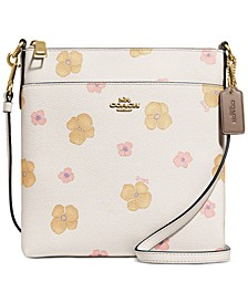 Pansy Print Leather Mini Kitt Crossbody