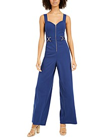 Juniors' Buckle-Trim Jumpsuit