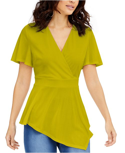 Thalia Sodi Asymmetrical Hem Surplice Top, Created for Macy's