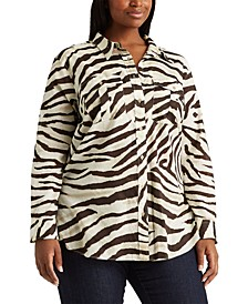 Plus-Size Print Cotton Shirt