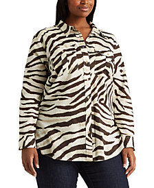 Lauren Ralph Lauren Plus-Size Print Cotton Shirt