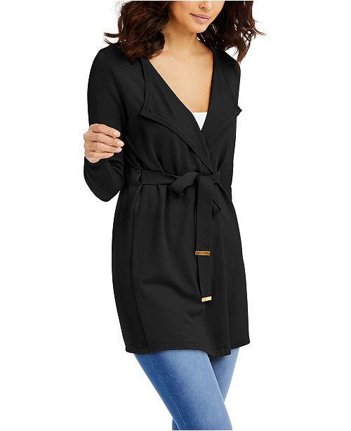 Thalia Sodi Mixed Media Belted Open-Front Cardigan, Created for Macy's