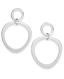 Silver-Tone Polished Double Circle Drop Earrings, Created for Macy's