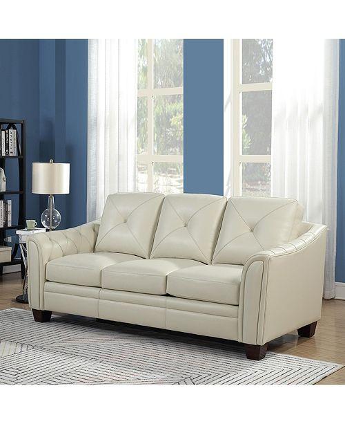 Nice Link Jaira Tufted Leather Sofa