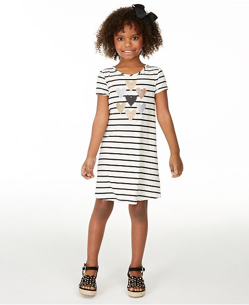 Epic Threads Little Girls Striped Hearts T-Shirt Dress, Created for Macy's