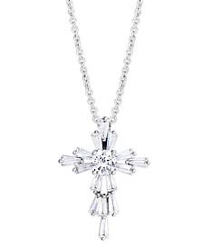 "Birthstone Cross 18"" Pendant In Fine Silver Plate"