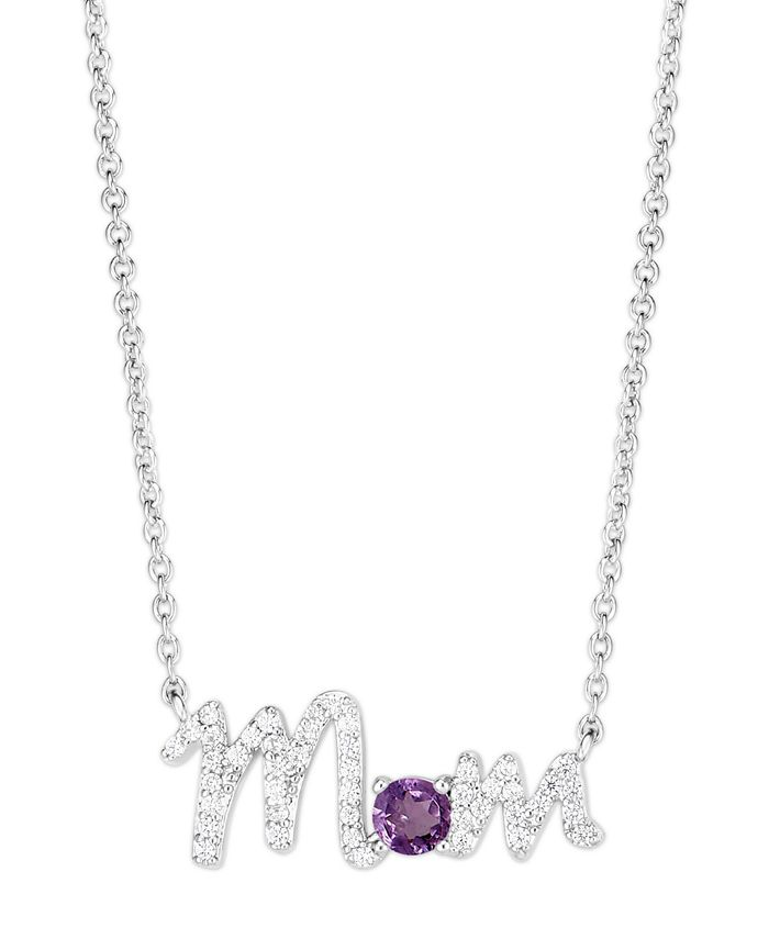 Macy's - Simulated Opal Mom Necklace In Fine Silver Plate