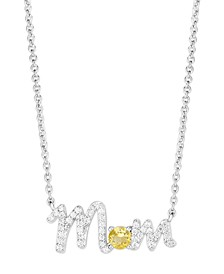 Birthstone Mom Necklace In Fine Silver Plate