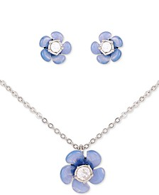"Silver-Tone 2-Pc. Set Crystal Blue Flower Stud Earrings & Pendant Necklace, 18"" + 2"" extender"