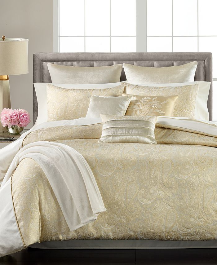 Martha Stewart Collection - Ivory Paisley Plume 14-Pc. King Comforter Set