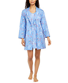 Charter Club Cotton Floral-Print Wrap Robe, Created for Macy's