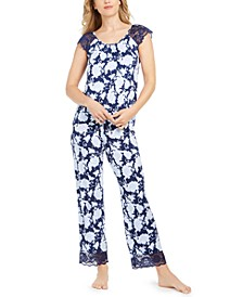 Petite Lace-Trim Pajama Set, Created for Macy's