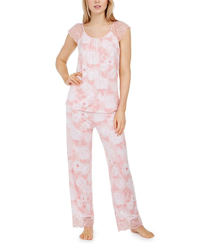 Charter Club Lace-Trim Floral-Print Pajama Set, Created for Macy's