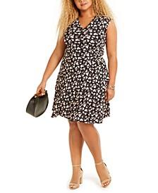 Plus-Size Floral Print Wrap-Style Dress