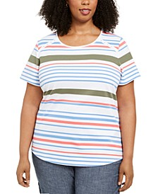 Plus Size Striped Grommet T-Shirt, Created for Macy's
