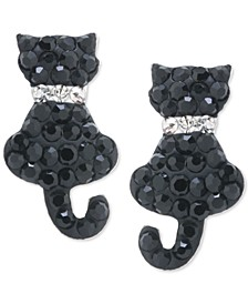 Crystal Cat Stud Earrings in Sterling Silver