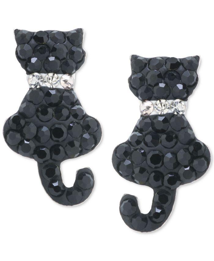 Giani Bernini - Crystal Cat Stud Earrings in Sterling Silver