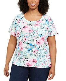 Plus Size Floral-Print T-Shirt, Created for Macy's