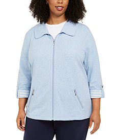 Karen Scott Plus Size Wing-Collar Jacket, Created for Macy's