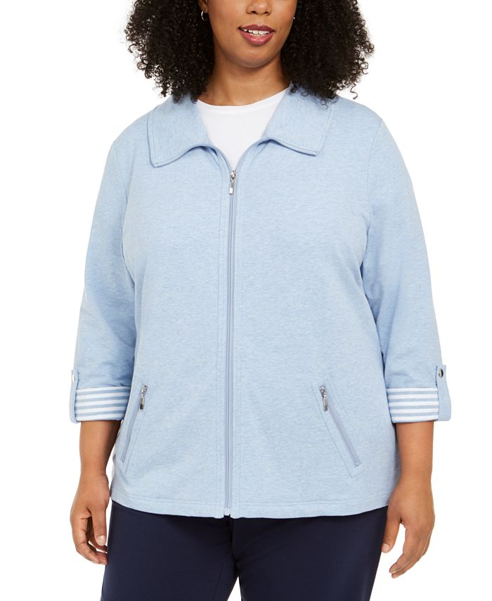 Karen Scott - Plus Size Wing-Collar Jacket